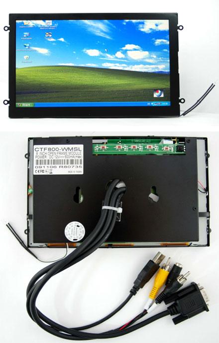 """CTF800-<b>WMSL</b> - VGA 8.0"""" (16:9) TFT - Touchscreen USB - Video - <b>OPEN-FRAME</b> (<b>500 nits, LED backlight</b>) <b>-TRANSFLECTIVE PRO-</b>"""