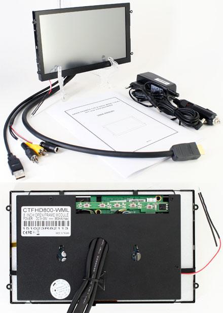"""CTFHD800-<b>WML</b> - HDMI 8.0"""" (16:9) TFT - Touchscreen USB - Video - <b>OPEN-FRAME</b> (<b>1024x600, 500 nits, LED</b>)"""